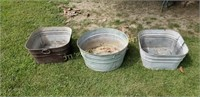 3 galvanized tubs