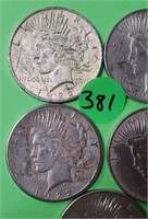LOT OF 5 - PEACE SILVER DOLLAR (381)