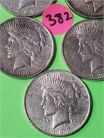 LOT OF 5 - PEACE SILVER DOLLAR (382)