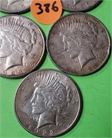 LOT OF 5 - PEACE SILVER DOLLAR (386)
