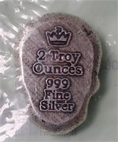 S 2 TROY OZ SILVER SKULL (DAY OF THE DEAD)