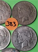 LOT OF 5 - PEACE SILVER DOLLAR (383)