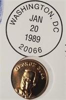 (396) 10K GOLD GEORGE BUSH COIN