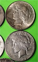 LOT OF 5 - PEACE SILVER DOLLAR (379)