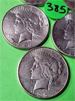 LOT OF 5 - PEACE SILVER DOLLAR (385)