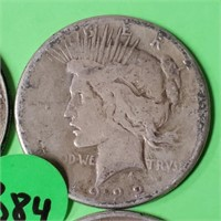LOT OF 5 - PEACE SILVER DOLLAR (384)