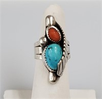 .925 Sterling Silver Turquoise Ring