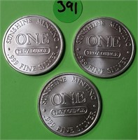 LOT OF 3 -  1 TROY OUNCE .999 FINE SILVER COIN 391
