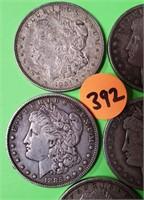 LOT OF 5 - MORGAN SILVER DOLLARS (392