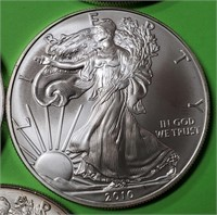 LOT OF 5 - 1oz  SILVER AMERICAN EAGLE COINS (390)