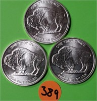 "LOT OF 3 - "".9999"" 1.0oz FINE SILVER BUFFALO (389)"