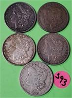 LOT OF 5 - MORGAN SILVER DOLLARS (393)