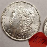 "LOT OF 2 - 1904 ""O"" MORGAN SILVER DOLLAR (409)"