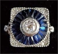 Art Deco Platinum European Cut Diamond & Sapphires