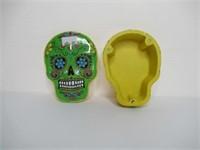 Metal Magnetic Mardi Gras Skull Container