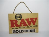 """""""Raw Rolling Papers Sold Here"""" Wooden Sign"""