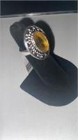 Citirine Color German Silver Ring