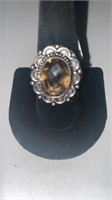 Smoky Quartz Color German Silver Ring