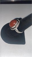 Red Onyx Color German Silver Ring