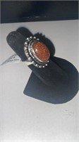 Red Sun Stone Color German Silver Ring