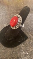 Red Coral Color German Silver Ring