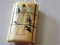 Japanese Signed Inro with Ojime Beads