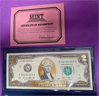 $2 DOLLAR BANK NOTES & GOLD COLORIZED $2 BANK (78)
