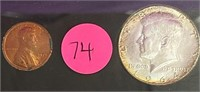 FRAMED LINCOLN & KENNEDY COINS (74)