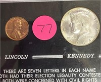 FRAMED LINCOLN & KENNEDY COINS (77)