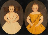 Important John James Trumbull Arnold (1812-1865) folk art oil on canvas double portrait of the Parsons children of Piedmont, VA (now WV), newly discovered, fresh to the market from the collection of Dan Wagoner, Romney, WV.