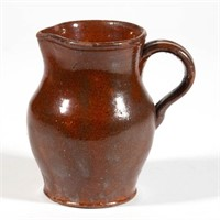 "Rare Woodstock, Shenandoah Co., VA earthenware cream jug / pitcher, stamped ""J. BUCK"", 4 1/4"" H"