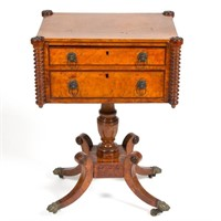 American Classical figured maple and mahogany work table, possibly Philadelphia
