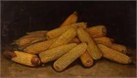 "Alfred Montogomery (1957-1922) oil on board still-life of corn, 17 1/4"" x 30"" sight."