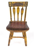 """Outstanding American paint-decorated doll's / salesman sample late Windsor-style arrowback side chair, 8 1/8"""" HOA"""