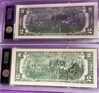 S - LOT OF 2 COLORIZED $2 DOLLAR BANK NOTES (69)
