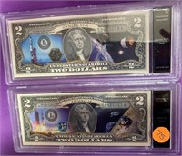 LOT OF TWO COLORIZED $ DOLLAR BANK NOTES (75)