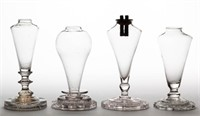 Selection of cup-plate base whale oil lamps