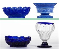 Rare lacy-period and other open salts including an unrecorded blown-molded diamond example with applied blue rim and foot