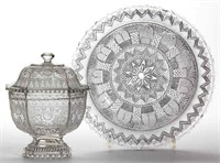 Collection of pressed lacy-period glass including an unrecorded Midwestern sugar bowl and cover in outstanding condition