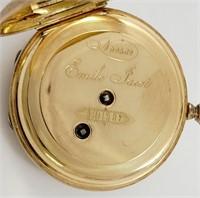 Emile Jacot, pendant watch, 14K HC w/enamel