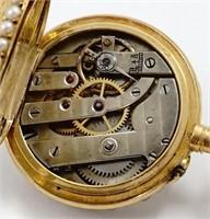LeCoultre, miniature pendant watch, 18K w/enamel