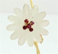 Ruby, agate, glass & 18K gold Italian floral piece