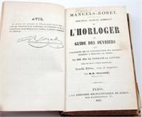 """""""Nouveau Manuel Complet de L'Horloger"""" book, 1850"""