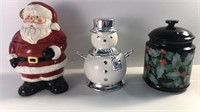 Snowman Candle, Santa & Holly Berry Cookie Jar