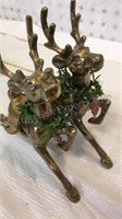 Vintage Lefton's Brass Sleigh and Set of 12