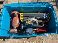 Tote of Jack Stands , Circular Saw, Grinder, Cutte