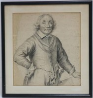 FRAMED AND GLAZED DRAWING OF A NOBLEMAN. SIGNED