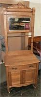 oak washstand w/mirror & towel bar c.1885