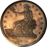 T$1 1873 FOUR OF THE FIRST FIVE PIECES STRUCK