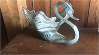 Art glass swan, ruffled bowl and blown vases